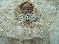 antique lace doll pincushion