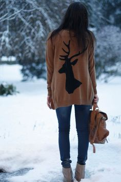 Want this sweater! silhouett, reindeer, animals, fashion, seasons, outfit, winter sweaters, christmas sweaters, the holiday