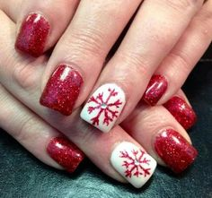 Red glitter snowflake nails