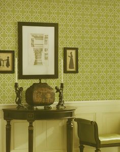 Green Trellis Wallpaper by Brewster. Find this pattern at AmericanBlinds.com.