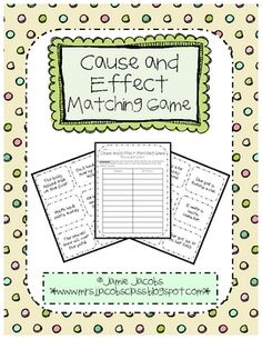 Here is a fun and engaging cause and effect matching game!  This activity can be used as a whole or small group reading lesson.  It could also be used....
