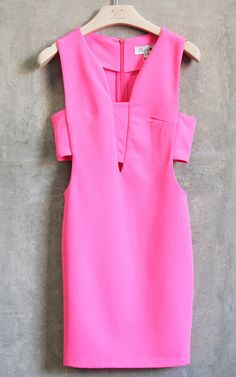 In the Limelight Cutout Dress - Neon Pink