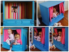 This is an old console tv made into a play fort/theater/store/hideout...