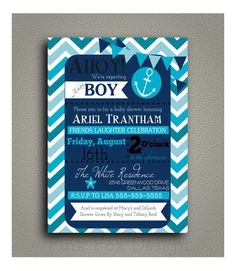 Nautical Boy Baby Shower Invitation -- Printable, DIY --