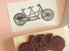 Antique Tandem Bicycle Rubber Stamp Photopolymer  by BlossomStamps, $8.50