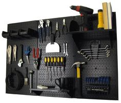 Pegboard Organizer Wall Control 4 ft. Metal Pegboard Standard Tool Storage Kit with Black Toolboard and Black Accessories by Wall Control, http://www.amazon.com/dp/B00BR33M7W/ref=cm_sw_r_pi_dp_tv5prb1NF2T5N