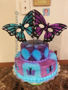Coolest Butterfly Mask Birthday Cake...