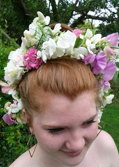 Sweet pea flower crown from The Garden Gate Southwold
