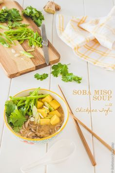 Soba Miso Soup with Chickpea Tofu recipe - vegan  |DeliciousEveryday.com