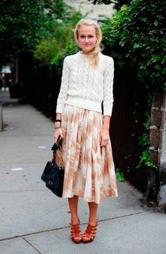 sweater and flowy skirt