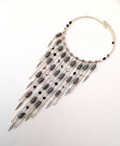 #Grey  #Bib #necklace  Leaf necklace  Handmade by #insoujewelry