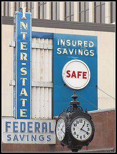 Vintage Interstate Federal Savings sign and clock    - Kansas City, Kansas