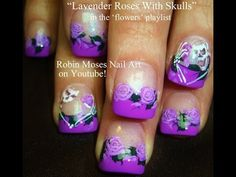Purple Rose Nail Art Design with Skeleton Accent Nails