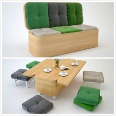 7. A beautiful bench that transforms into a dining set.