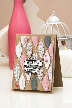 Yana Smakula | Card a Month: Miss You So Much using #Spellbinders feather die, Pen Pals papers from Pink Paislee and stamps from Hero Arts & Studio Calico @letrodectus