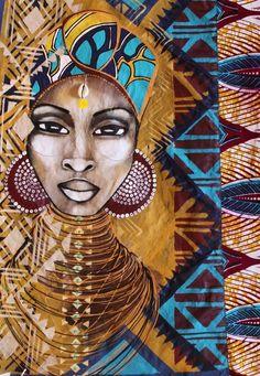 space artist, blackart, afrocentric art, african woman, beauti