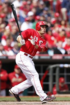 CINCINNATI, OH - APRIL 29: Joey Votto #19 of the Cincinnati Reds doubles to drive in two runs and tie the game in the seventh inning against the Houston Astros at Great American Ball Park on April 29, 2012 in Cincinnati, Ohio. The Reds came from behind to win 6-5. (Photo by Joe Robbins/Getty Images)
