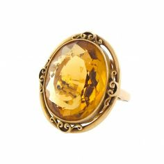 Mid-Century Oval Citrine Cocktail Ring in 14k Gold | Cleo Walker