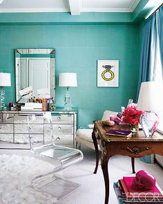 crazy about this mix of furniture in Ashley Stark's home. blue rooms, wall colors, chair, blue walls, mirrored furniture, tiffany blue, dresser, home offices, bedroom
