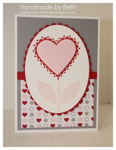 handmade Valentine card ... clean lines ... heart as a tulip ...