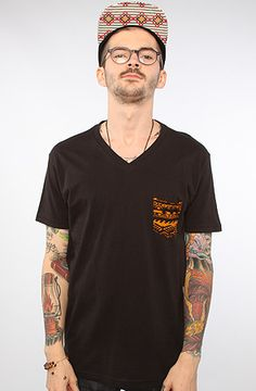 Royale V Neck Tee (Made in the USA) in Black w/ Orange Tribal Patch Pocket by ARSNL