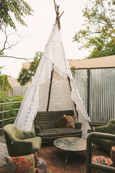 Lace teepee - Boho porch style