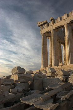 The ruins of the Parthenon in Athens, Greece.