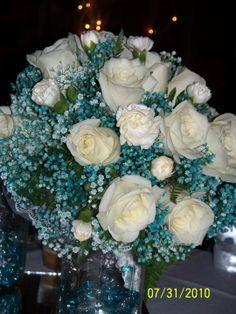 JADE GREEN & ICE BLUE WEDDING THEMES   aqua blue wedding bouquet