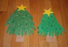 Hand-print Christmas Tree - Just when you though there was no way that your child could get his or her hands into anything else, a Christmas tree appears. Literally! This great Christmas craft is a unique way for children to use their own hand print cutouts to make a tree that is all theirs.