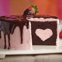Chocolate Dipped Strawberry Cake for Valentine's Day