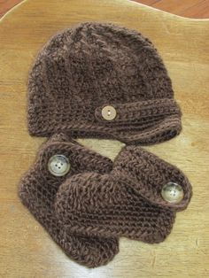 Crochet Newsboy Button Hat and Button Baby by HannahsHomestead2, $32.00 .... LOVE the hat!!