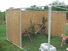 Easy DIY Cat / Bird / Dog Enclosure. I like the covered walls so the dogs can't look right at them.