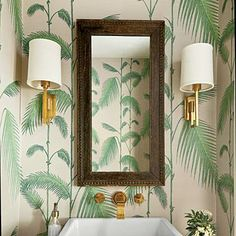 Tropical & Tailored   Combine a palm print with handsome brass finishes, strong square shapes, and a touch of wood for a style that's sophisticated, not beachy.