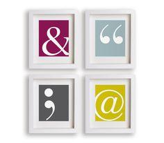 Type Symbols Art Prints - Set of Four Prints - ampersand, dorm decor, quotes, quotation marks, semi colon, at symbol, wall decor