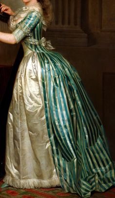 This is just gorgeous! Gown and fichu detail from Self-portrait with a Harp, circa 1791, Rose-Adélaïde Ducreux (1761 – July 26, 1802). Note how the lace at the elbow has been folded up over the sleeve, out of the way of the harp strings for ease of play.