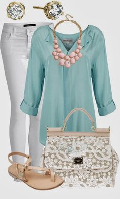 I would have to change the jewelry, but I LOVE the blouse and color.