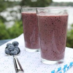Blueberry smoothie with yogurt, fresh orange and a handful of spinach - healthy and you will never know there is spinach in this smoothie!!
