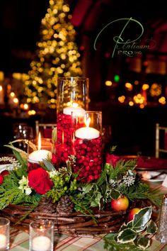 Centerpieces for holidays. I might just do the candles with cranberries on a mirror