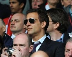 British actor Clive Owen, a lifelong Liverpool supporter, pictured at Anfield watching an LFC match.