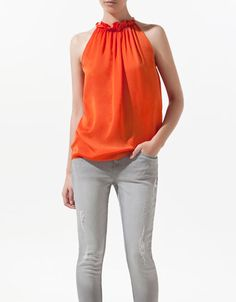 TOP WITH METALLIC CHAIN HALTER NECK - Shirts - Woman - ZARA Colombia