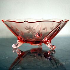 Lancaster Glassware | Pink Depression Glass Floral Etch Footed Bowl, by Lancaster - a photo ...