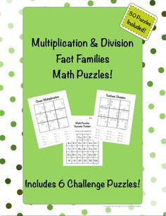 30 puzzles for students to practice times tables using multiplication and division fact families. Gain fluency without the pressure of drilling.