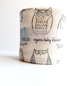 Owl Baby Blanket, Little Illustrated Owls, Eco Friendly Organic Cotton Baby Blanket