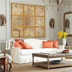 Easy to DIY: take a super large vintage print and cut it into pieces (I assume I'll have to crop it to fit the ratio and spacing of my frames rather than fit my frames to the map).  Tack (with metal plates) frames together and mount as one large object on the wall.  To go over the master bedroom headboard.