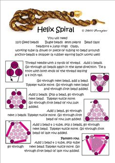 Helix Spiral from Bead Mavens. There are three panels in this picture tute sequence. #Seed #Bead #Tutorials