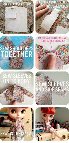 sixties inspired blythe jacket, Blythe DIY, blythe pattern