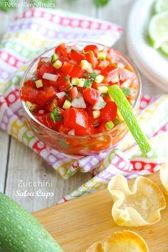 Zucchini Salsa Cups-PetiteAllergyTreats| You can't taste the zucchini w/homemade gluten free tortilla scoops #glutenfree, #vegan