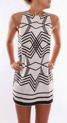 Classic black and white geo dress