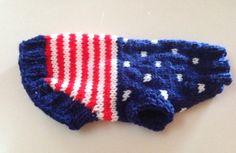 USA Flag Dog Sweater Chihuahua Hand Knit Made by RocknHotdog, $14.00