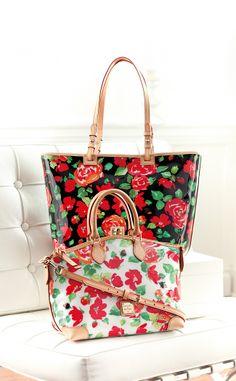 Dooney & Bourke Rose Print Shopper & Satchel.  #belk #handbags